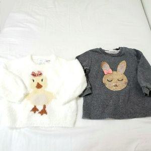 Zara Fuzzy Chick and H&M Bunny Sequin Sweater Lot